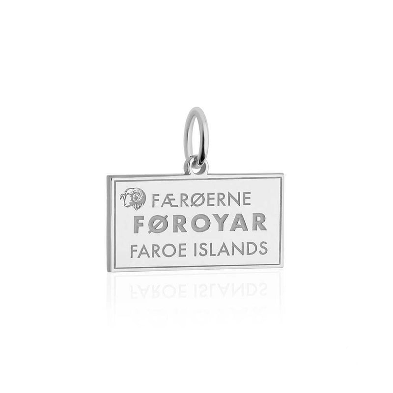Sterling Silver Travel Charm, Faroe Islands Passport Stamp - JET SET CANDY