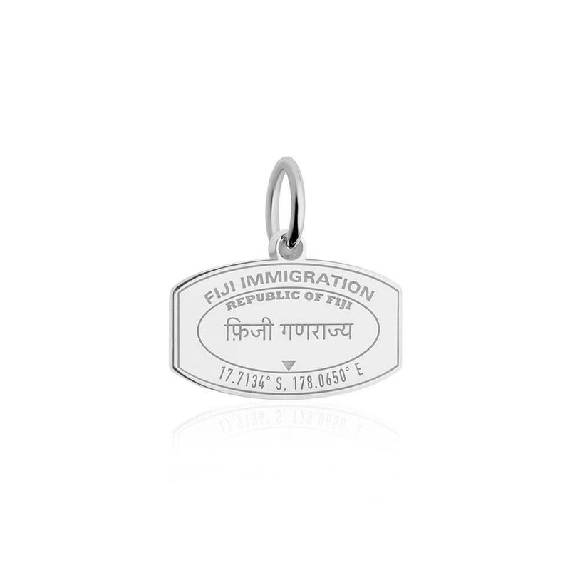 Sterling Silver Travel Charm, Fiji Passport Stamp - JET SET CANDY