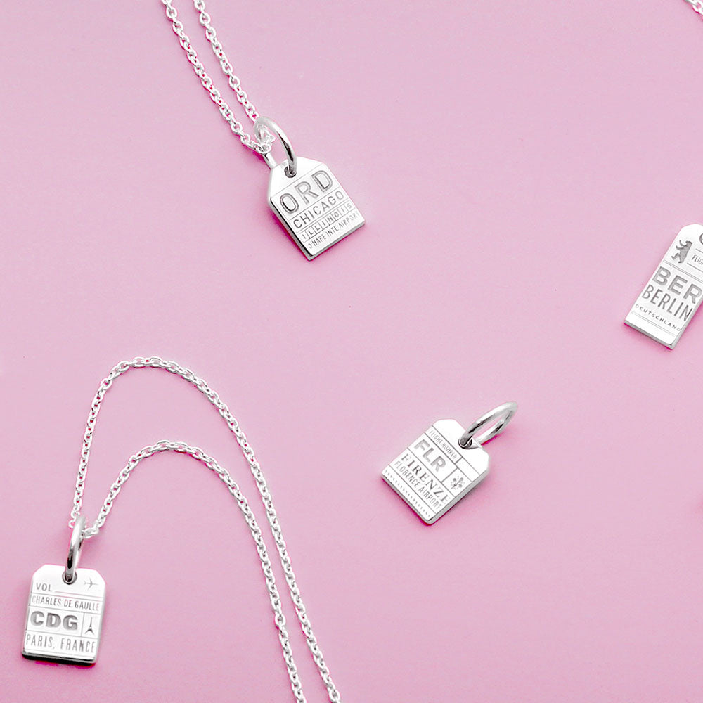 Mini Silver Florence, Italy Necklace, FLR Luggage Tag Charm - JET SET CANDY