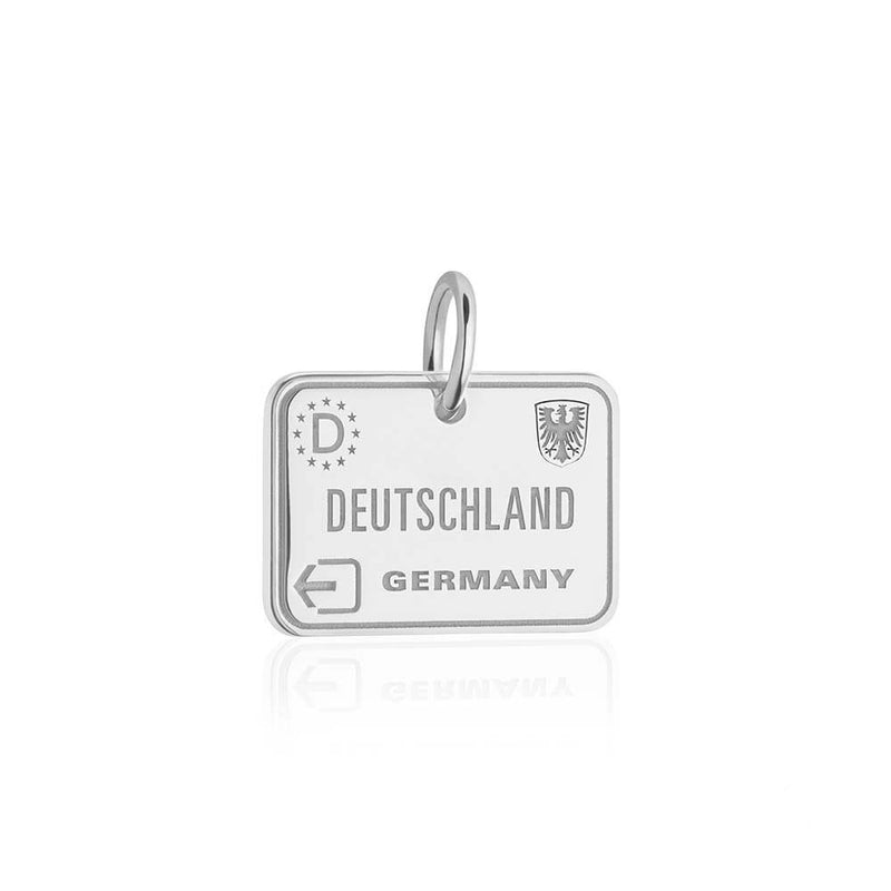 Silver Germany Charm, Passport Stamp - JET SET CANDY