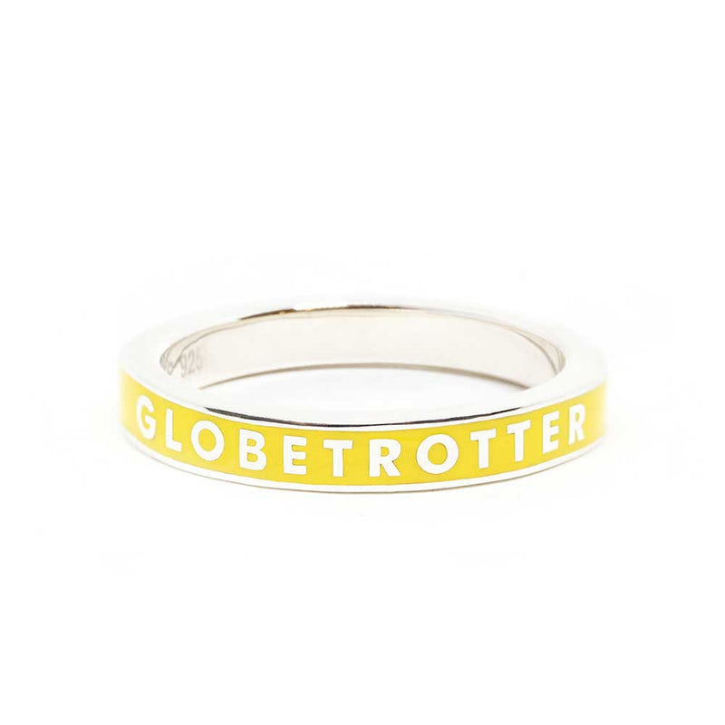 Yellow Enamel Ring in Sterling Silver, Globetrotter - JET SET CANDY
