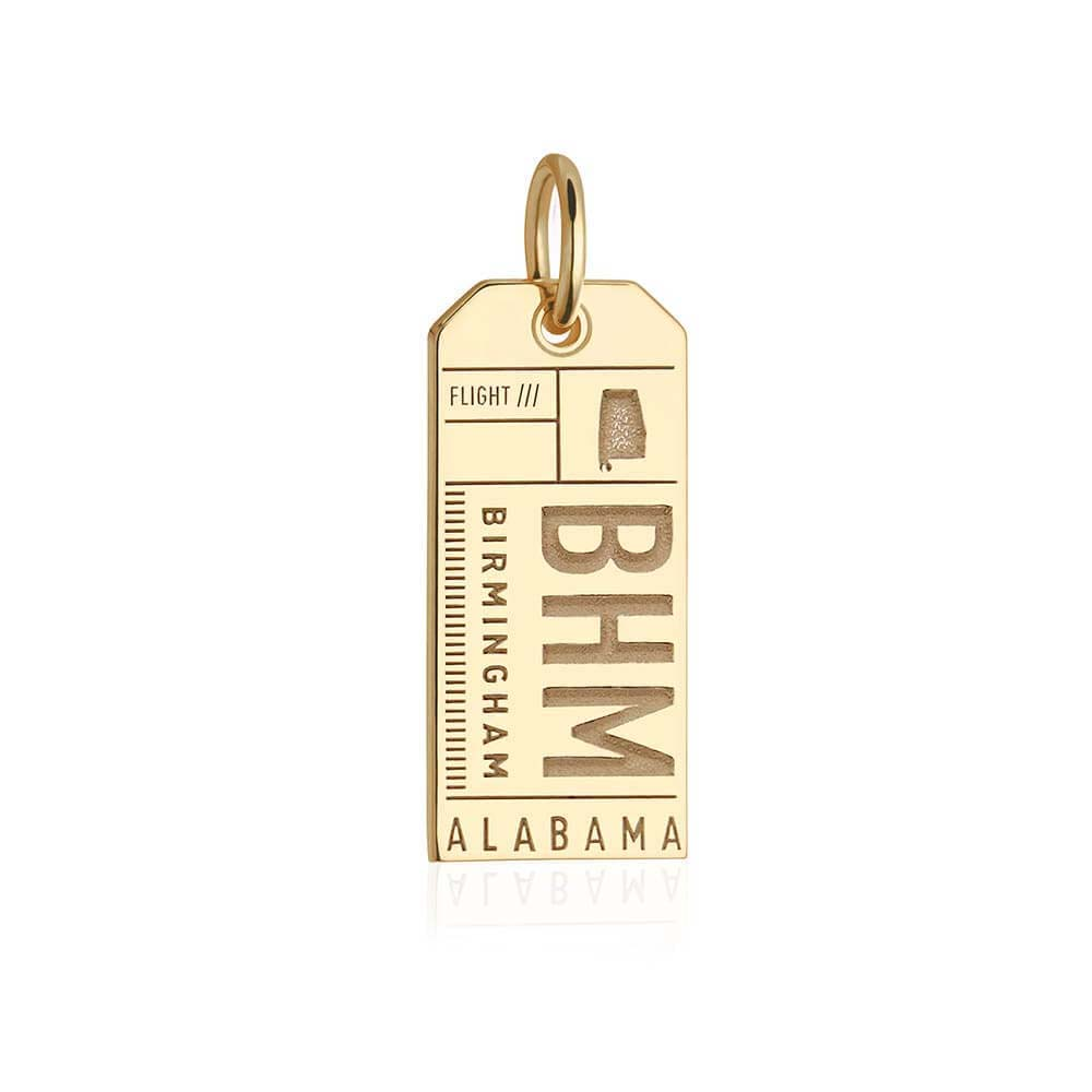 Gold Birmingham, Alabama BHM Luggage Tag Charm (BACK-ORDER-SHIPS MAY) - JET SET CANDY