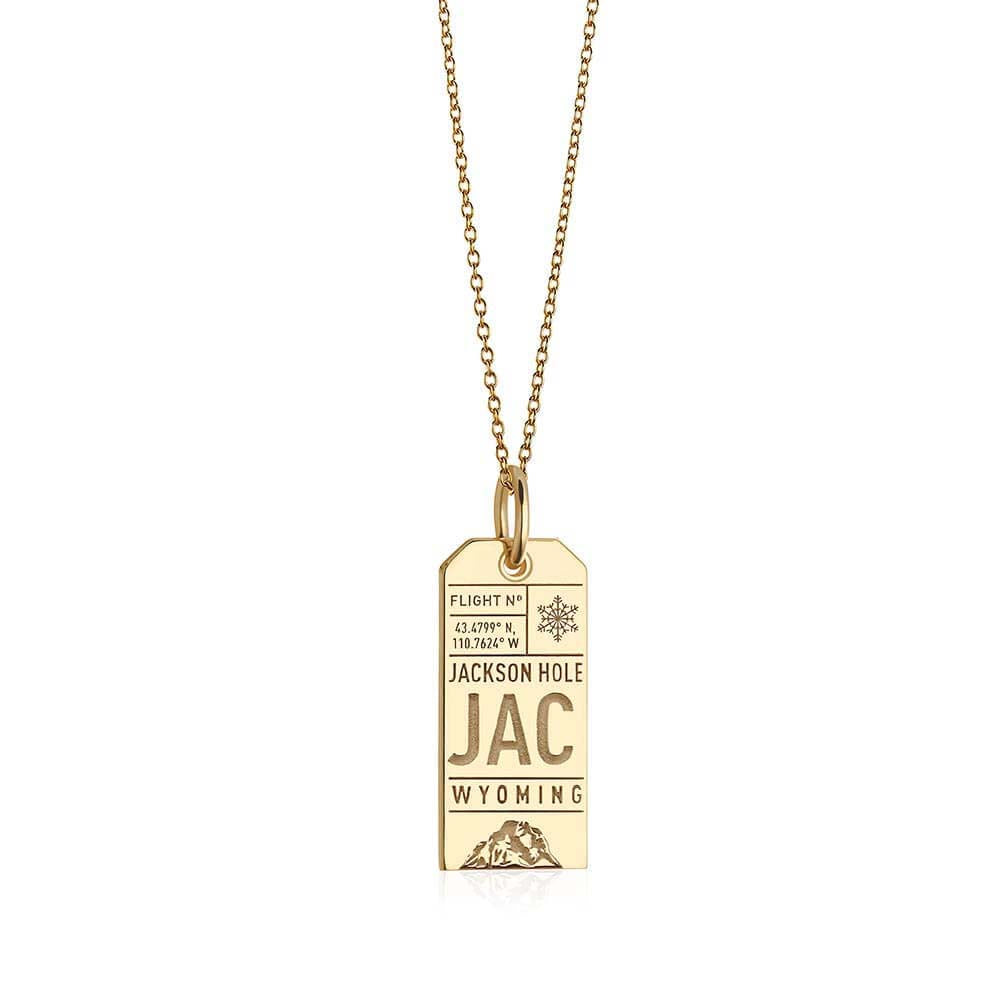 Gold Jackson Hole, Wyoming JAC Luggage Tag Charm (SHIPS LATE FEBRUARY/EARLY MARCH)