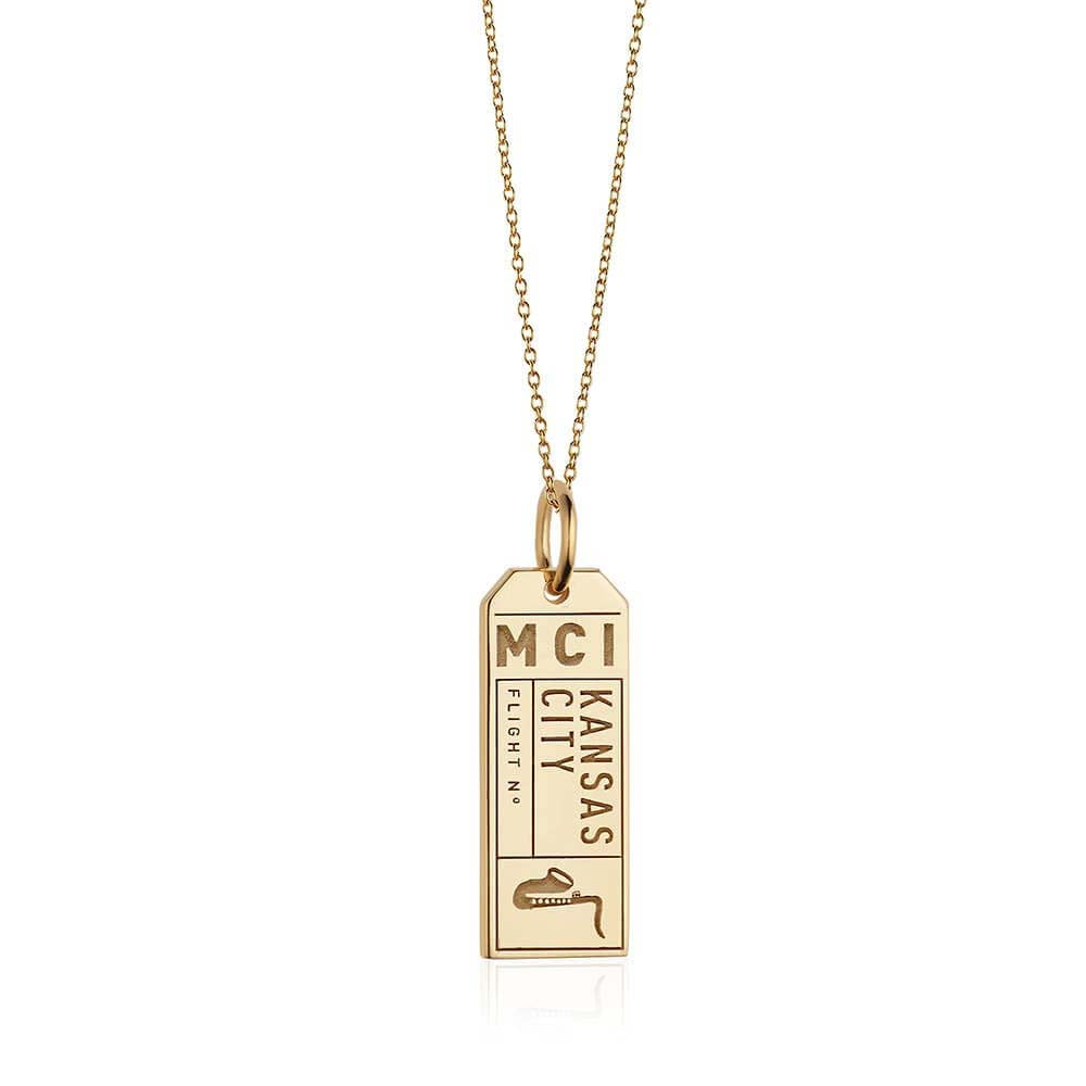 Gold Kansas City, Missouri MCI Luggage Tag Charm - JET SET CANDY