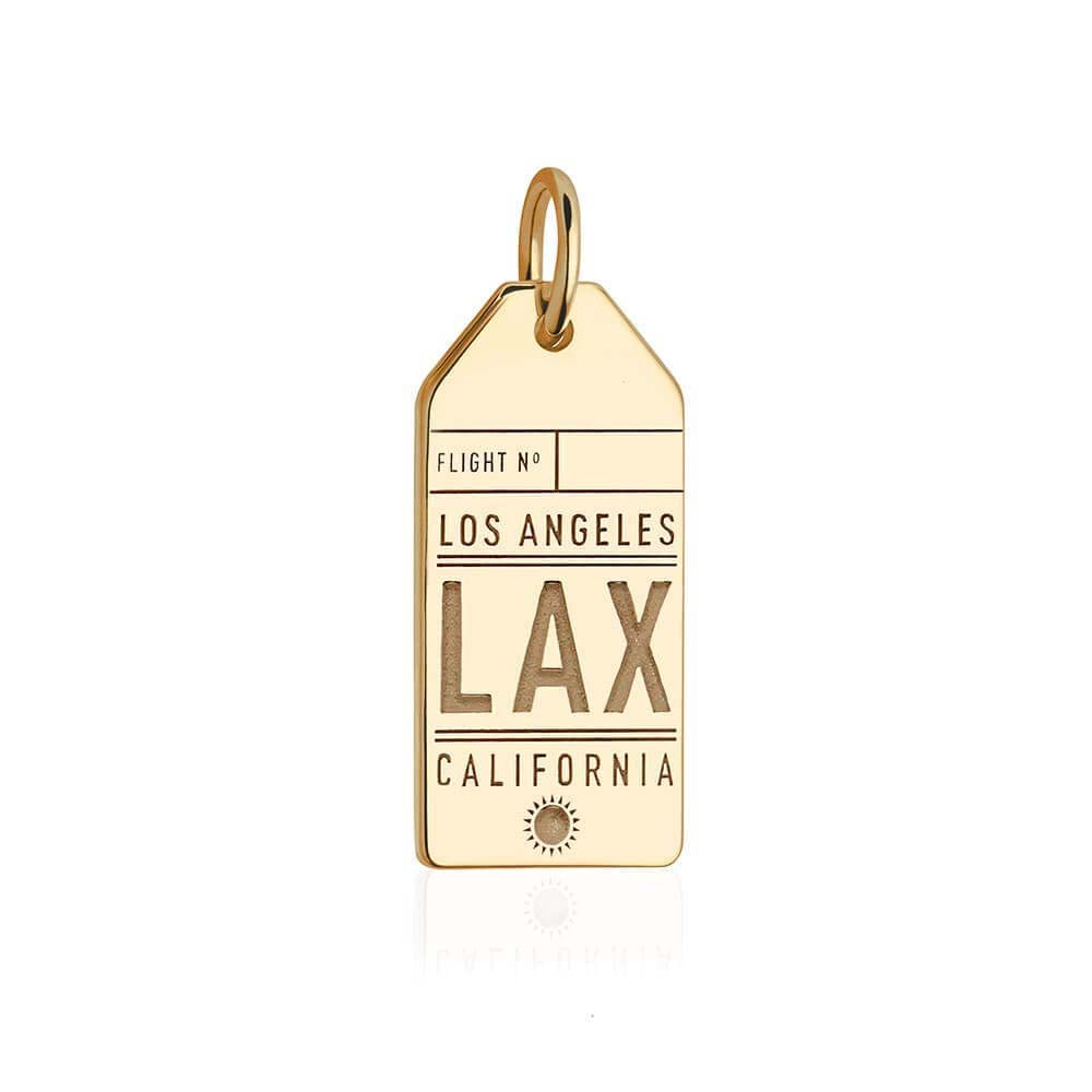 Gold California Charm, LAX Los Angeles Luggage Tag