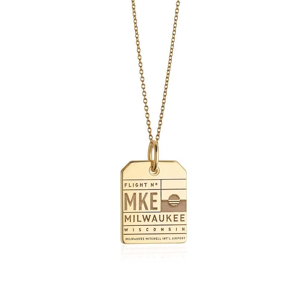 Gold Milwaukee, Wisconsin MKE Luggage Tag Charm