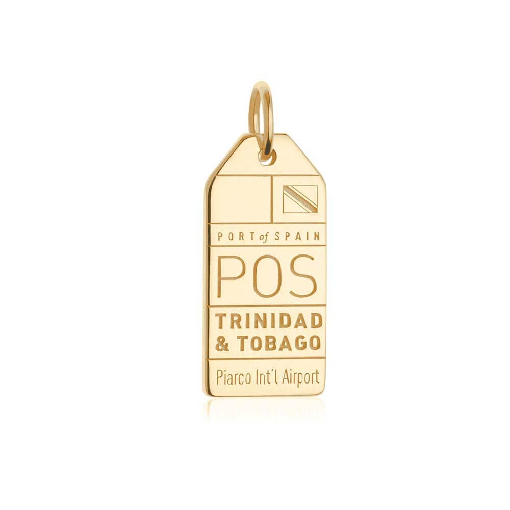 Gold Travel Charm, POS Trinidad and Tobago Luggage Tag - JET SET CANDY