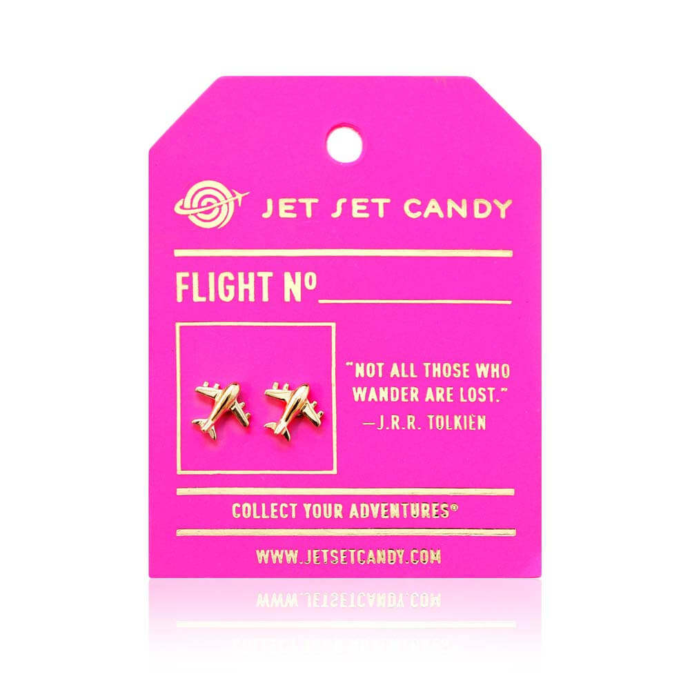 GWP-Gold Airplane Earrings - JET SET CANDY