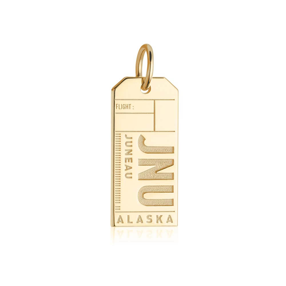 Gold Travel Charm, JNU Juneau, Alaska Luggage Tag - JET SET CANDY