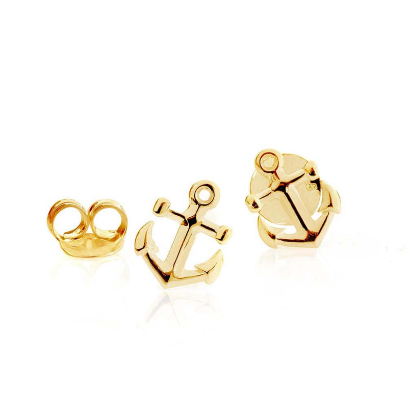 Gold Mini Anchor Earrings