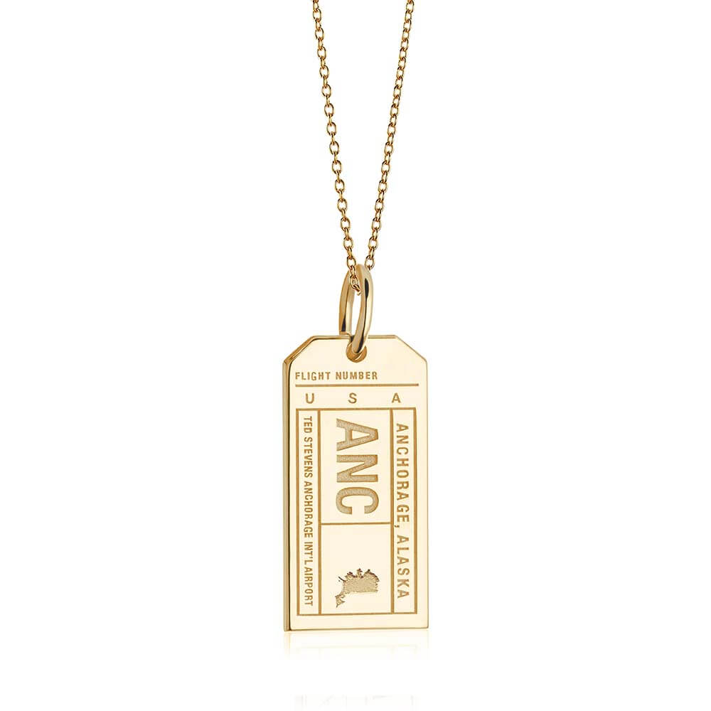 Gold USA Charm, ANC Anchorage, Alaska Luggage Tag - JET SET CANDY