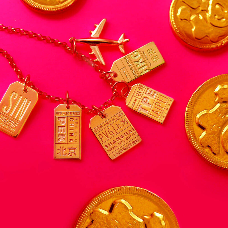 Gold Singapore Charm, SIN Luggage Tag - JET SET CANDY
