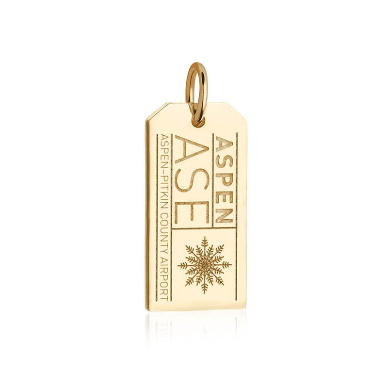 Solid Gold Colorado Charm, ASE Aspen Luggage Tag - JET SET CANDY
