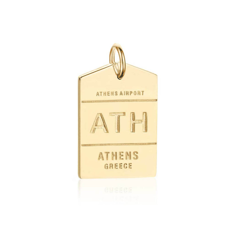 Gold Vermeil Greece Charm, ATH Athens Luggage Tag - JET SET CANDY