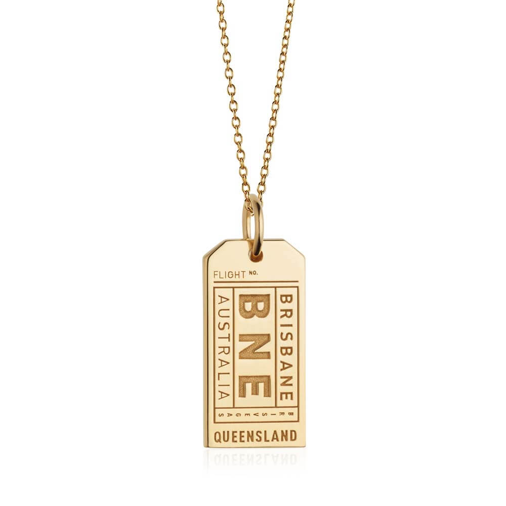 Gold Australia Charm, BNE Brisbane Luggage Tag - JET SET CANDY