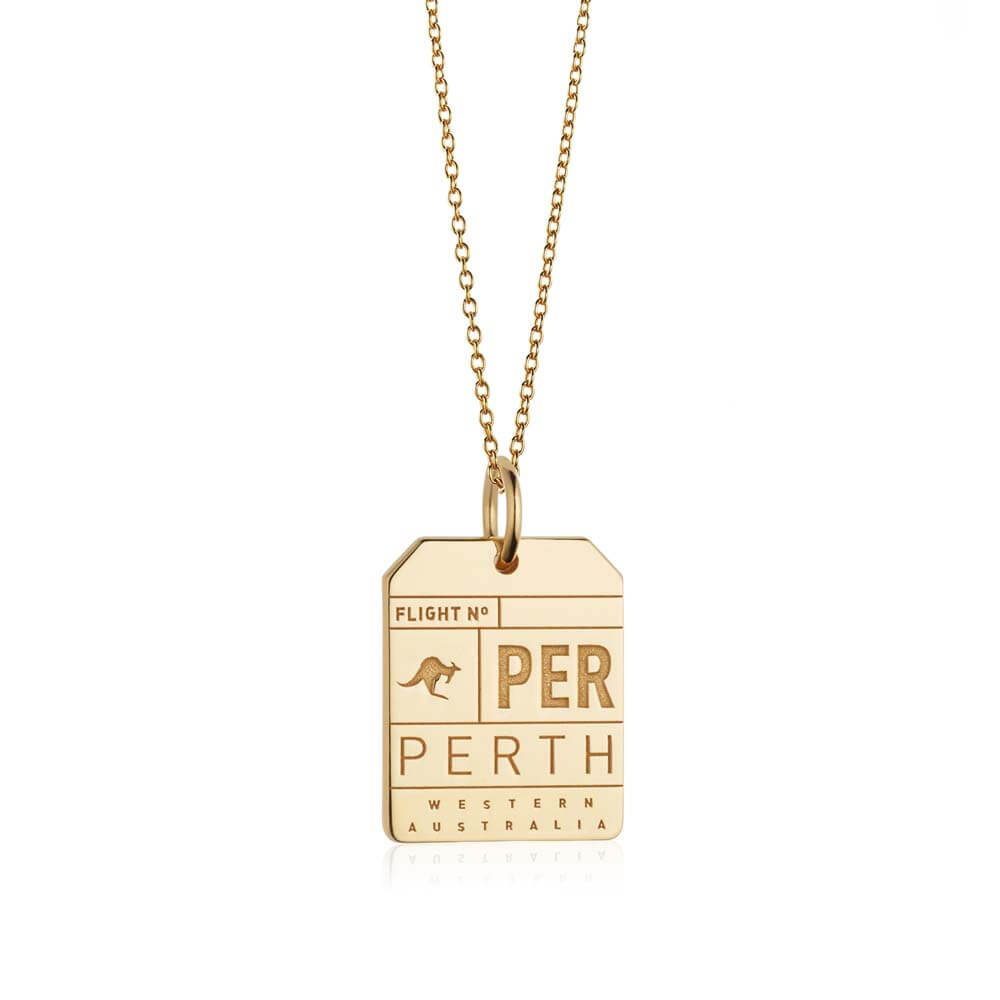 Gold Australia Charm, PER Perth Luggage Tag - JET SET CANDY