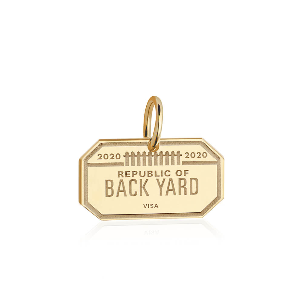 PRE ORDER: Gold Republic of Back Yard Passport Stamp Charm (SHIPS LATE APRIL)