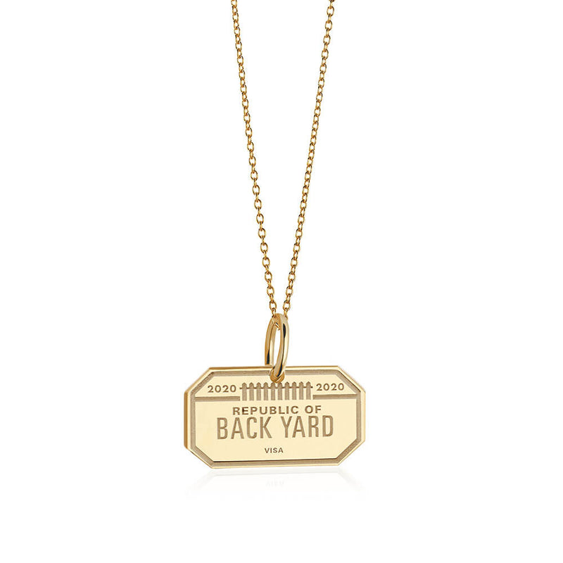 PRE ORDER: Solid Gold Back Yard Passport Stamp Charm (Allow 8 weeks)
