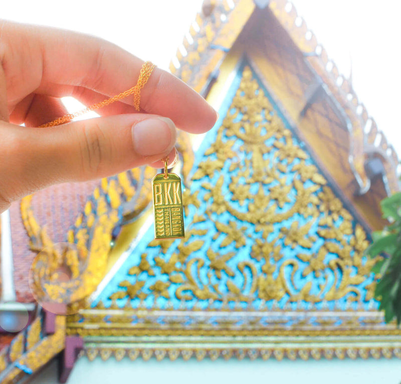 Gold Thailand Charm, BKK Bangkok Luggage Tag - JET SET CANDY