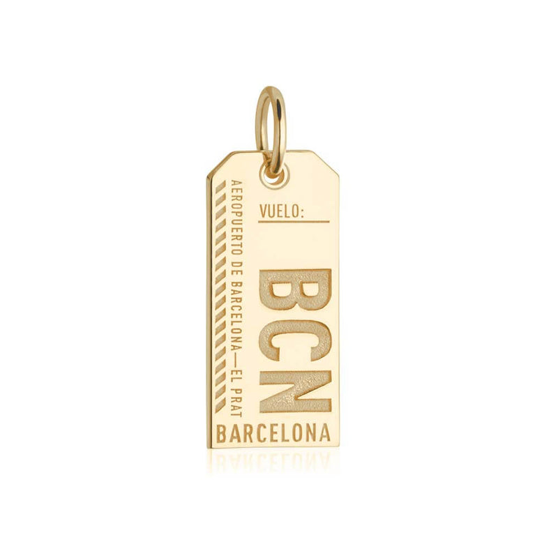 Gold Vermeil Spain Charm, BCN Barcelona Luggage Tag - JET SET CANDY