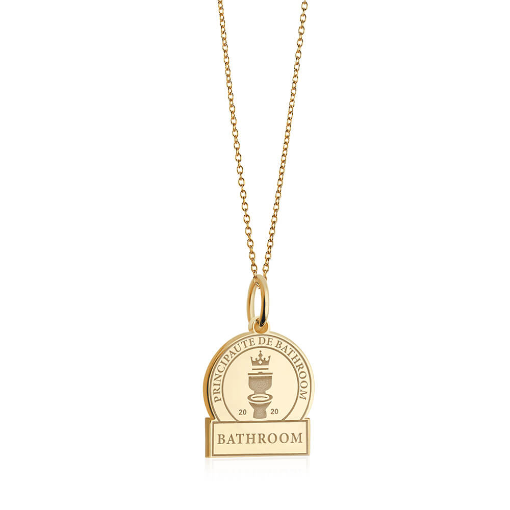PRE ORDER: Gold Bathroom Passport Stamp Charm (SHIPS MID MARCH)