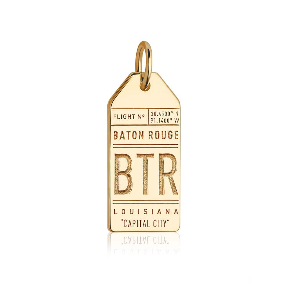 Gold USA Charm, BTR Baton Rouge Luggage Tag - JET SET CANDY