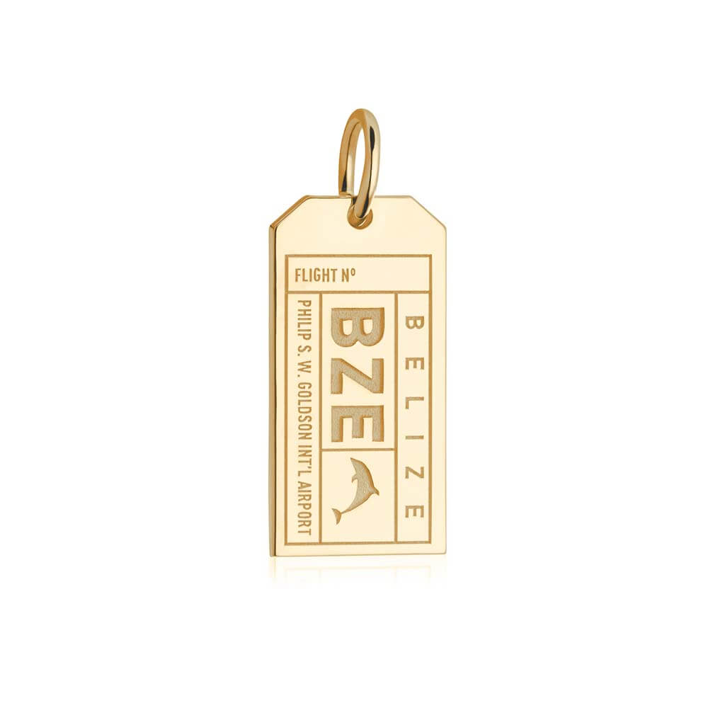 Gold Travel Charm, BZE Belize Luggage Tag - JET SET CANDY