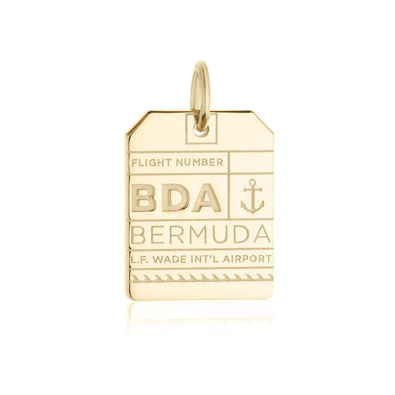 Gold Caribbean Charm, BDA Bermuda Luggage Tag - JET SET CANDY