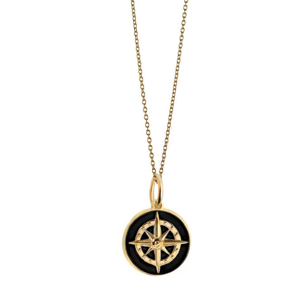 Large Gold Black Enamel Compass Charm (SHIPS JUNE) - JET SET CANDY