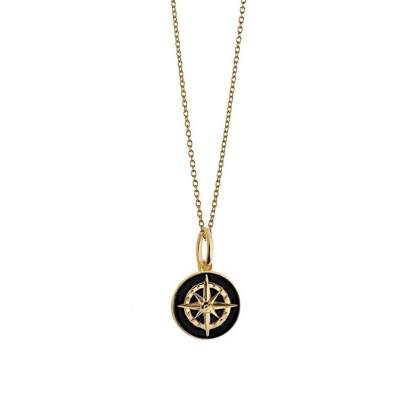 Mini Gold Black Enamel Compass Charm - JET SET CANDY