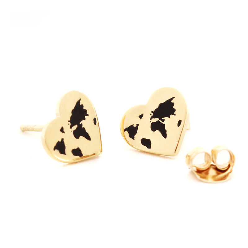 Small Gold World Heart Map Earrings with Black Enamel