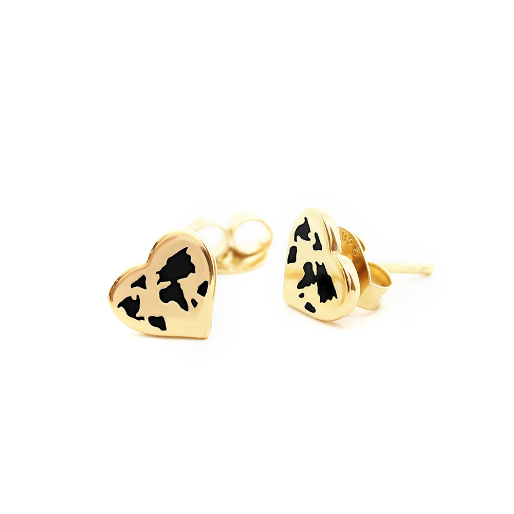 Tiny Gold World Heart Map Earrings with Black Enamel