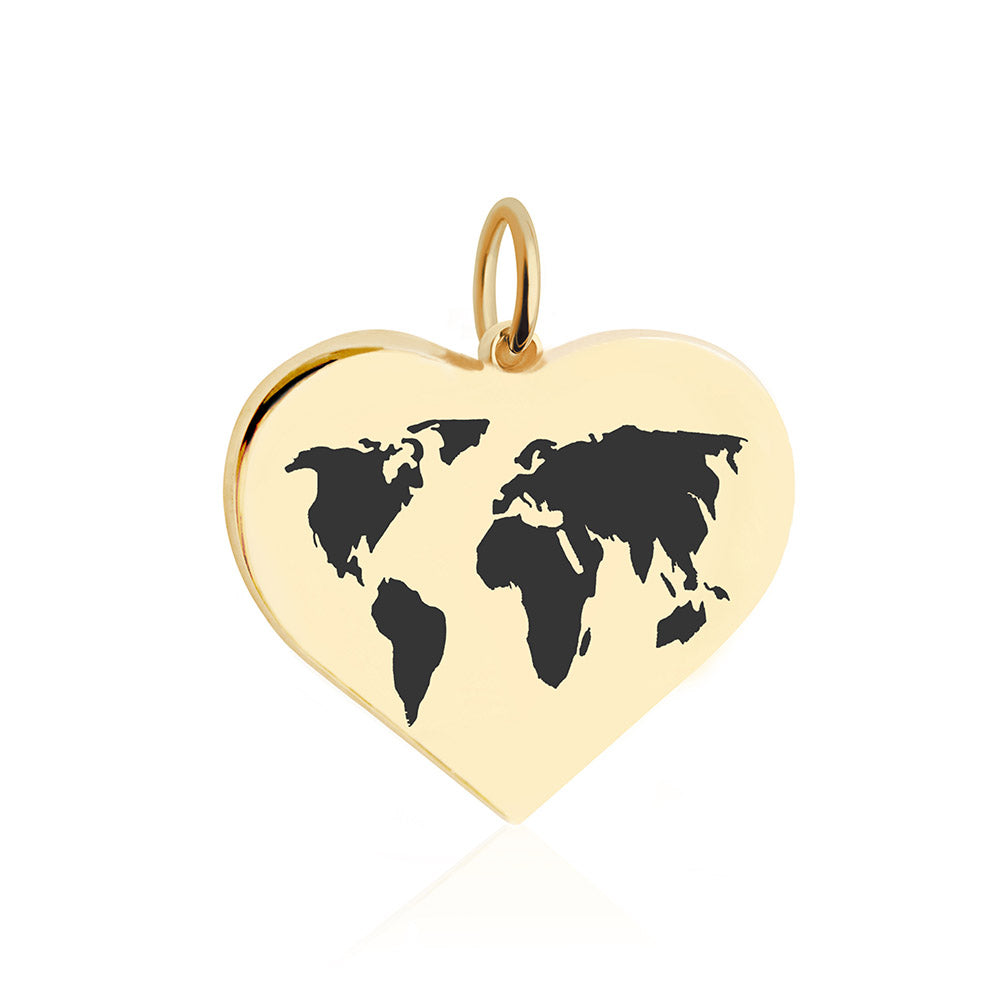 Large Gold World Heart Map Charm with Black Enamel