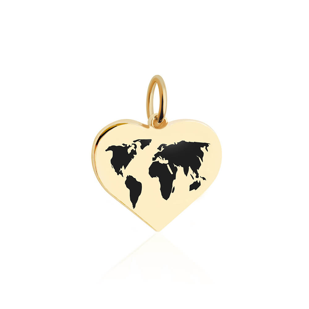 Medium Gold World Heart Map Charm with Black Enamel (SHIPS LATE JAN.)