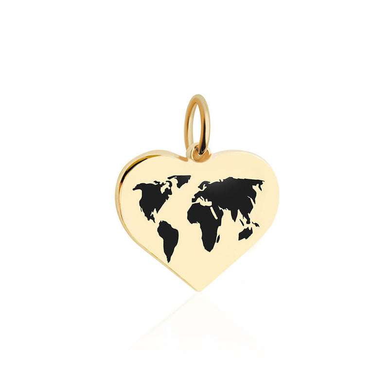 Medium Gold World Heart Map Charm with Black Enamel (SHIPS MID DEC.)