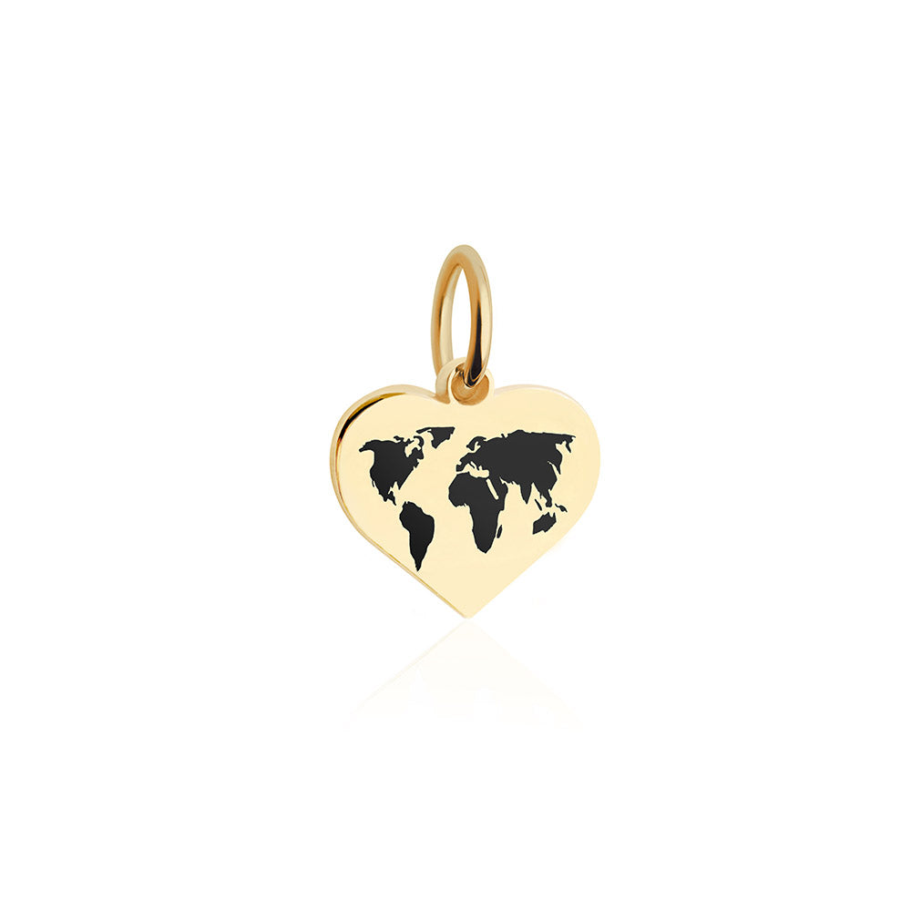 Mini Gold World Heart Map Charm with Black Enamel (SHIPS EARLY FEB.)