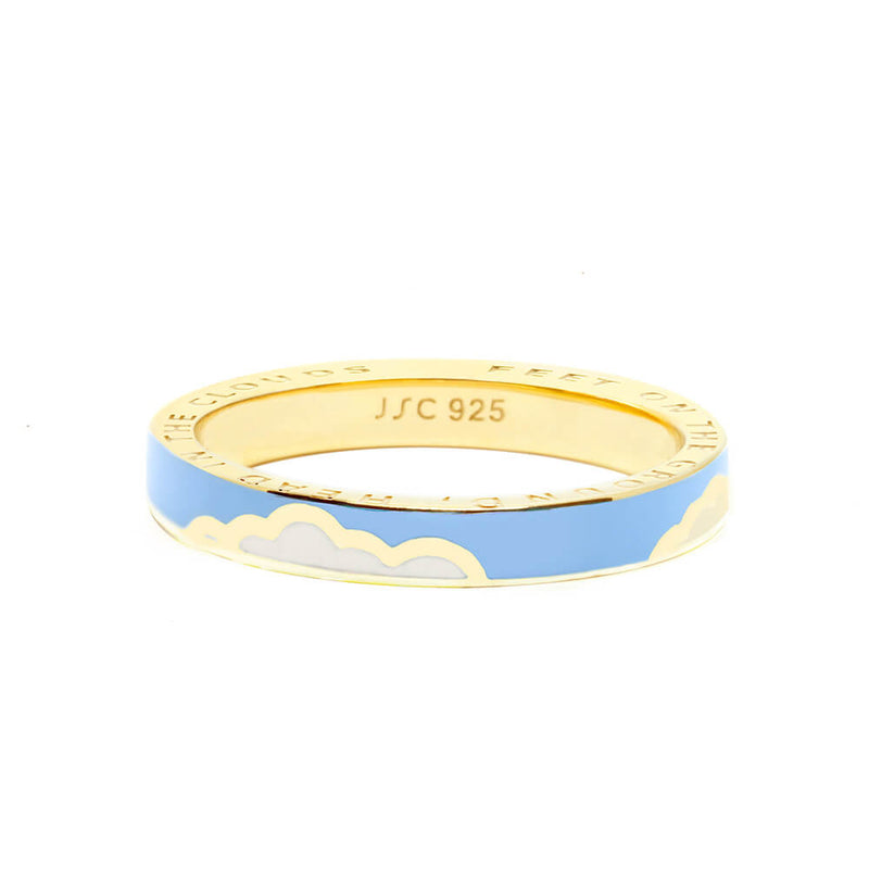 Gold Cloud Ring with Blue Enamel (SHIPS LATE MAY)