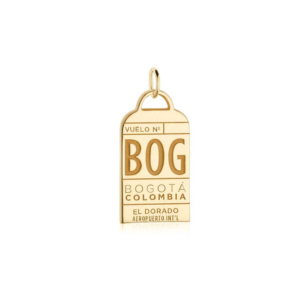 Gold Colombia Charm, BOG Bogota Luggage Tag - JET SET CANDY