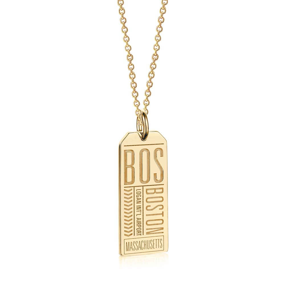 Gold USA Charm, BOS Boston Luggage Tag - JET SET CANDY