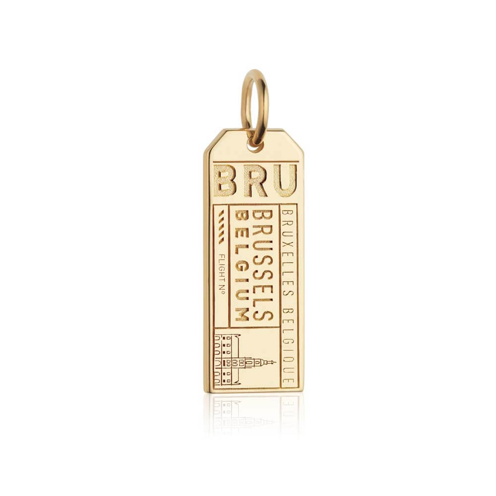 Gold Vermeil Belgium Charm, BRU Brussels Luggage Tag - JET SET CANDY