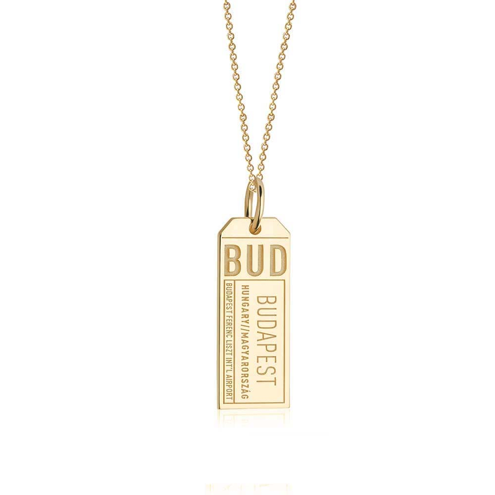 Gold Vermeil Hungary Charm, BUD Budapest Luggage Tag - JET SET CANDY