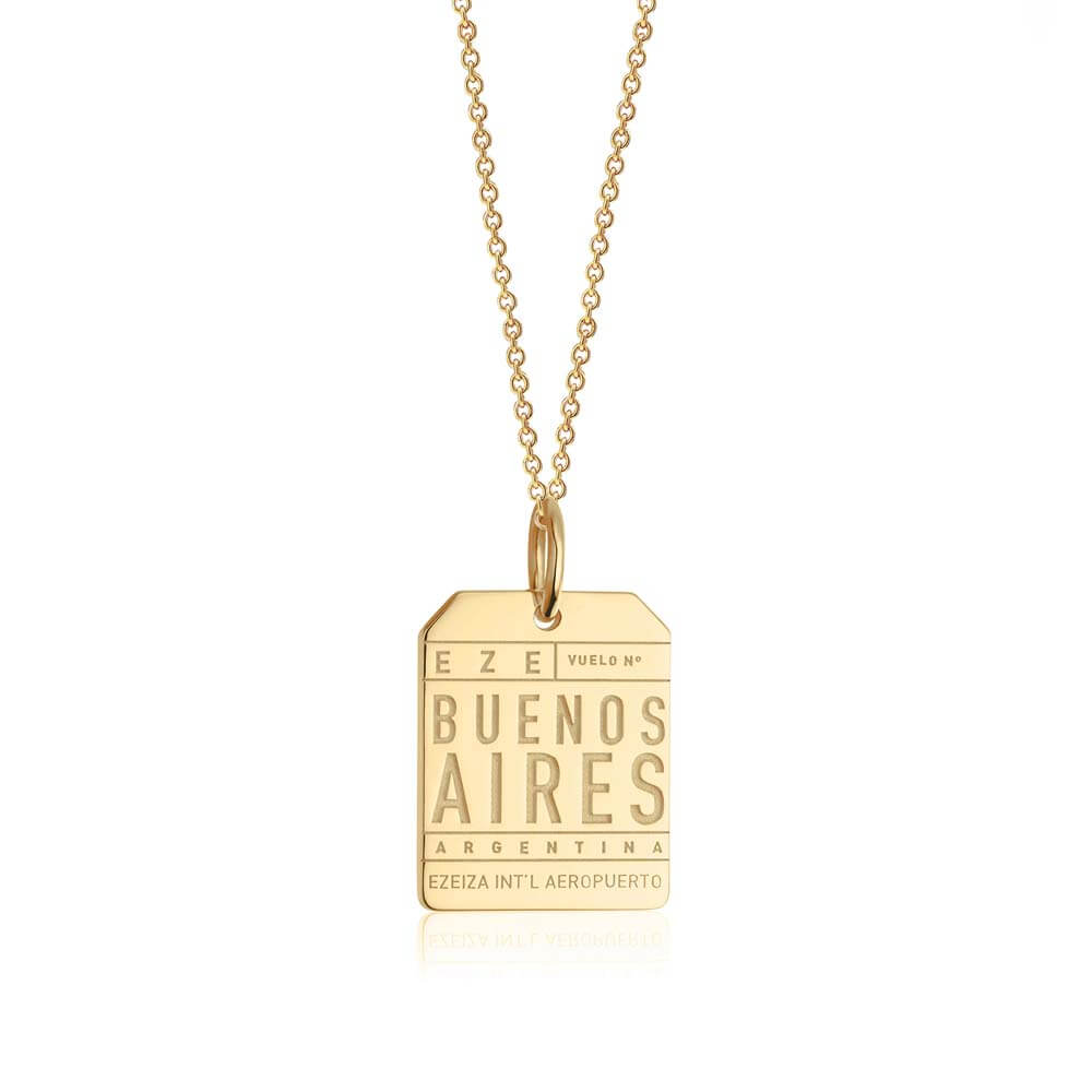 Gold Travel Charm, EZE Buenos Aires Luggage Tag - JET SET CANDY
