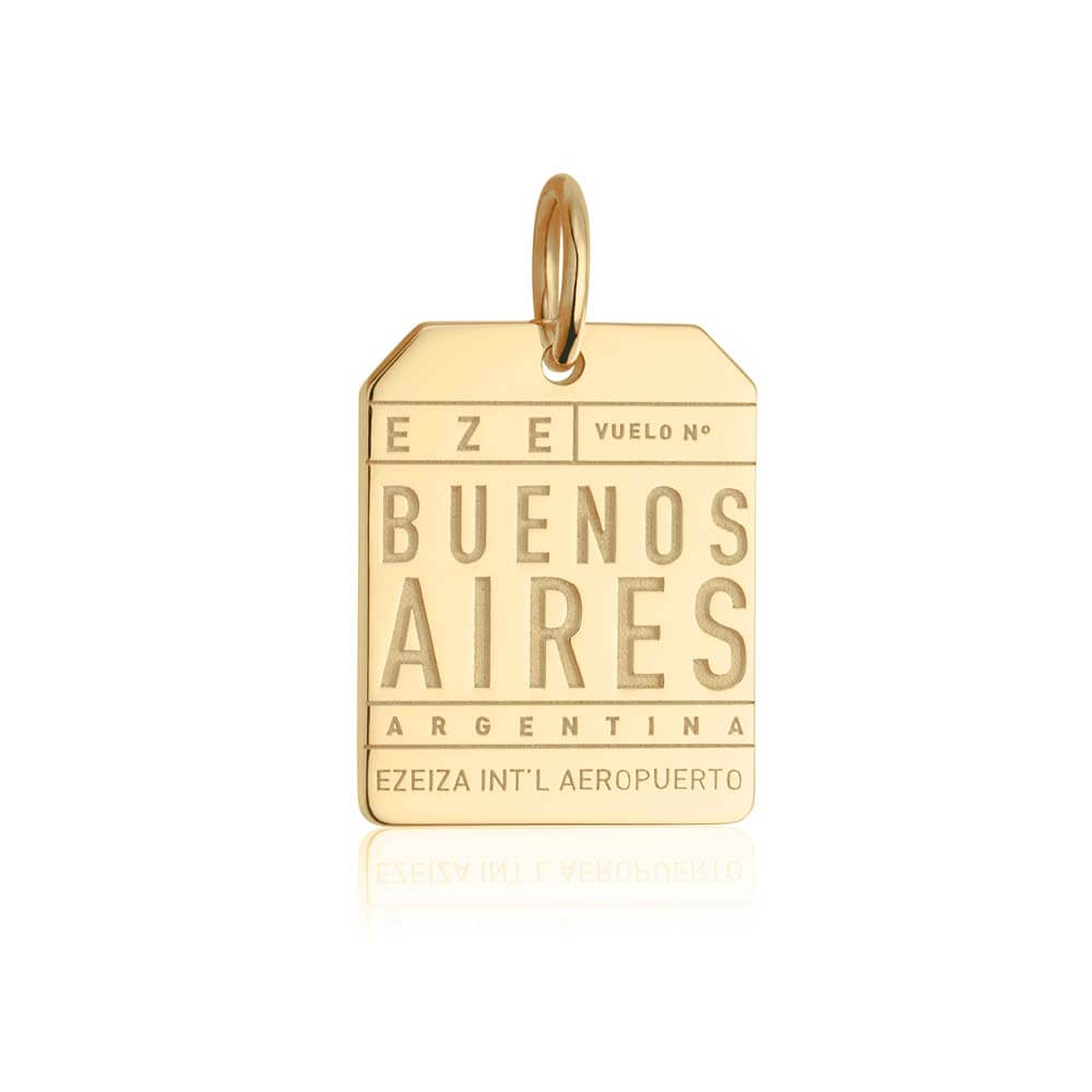 Gold Travel Charm, EZE Buenos Aires Luggage Tag (BACK-ORDER-SHIPS MID/LATE FEBRUARY) - JET SET CANDY