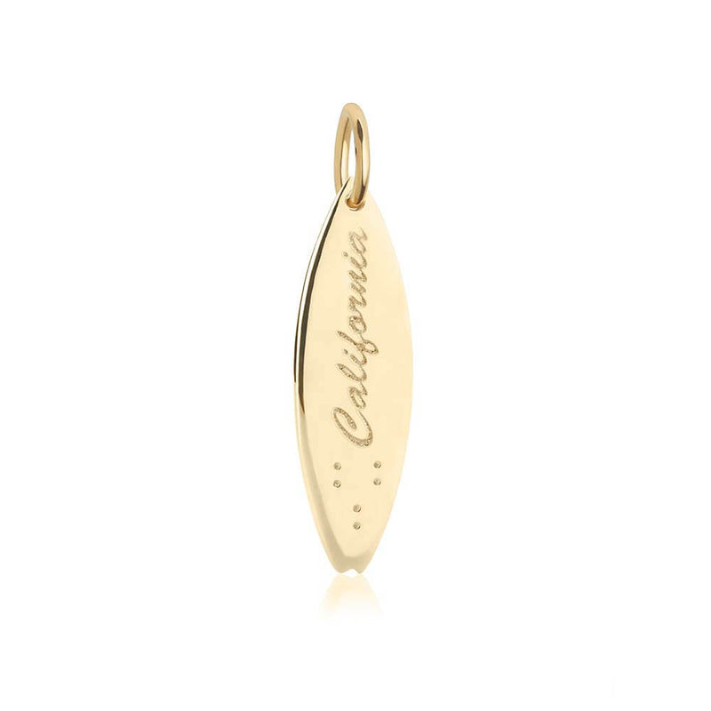 Gold Surfboard Charm, California - JET SET CANDY