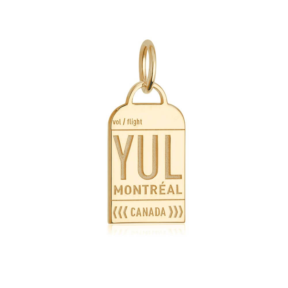 Gold Canada Charm, YUL Montreal Luggage Tag - JET SET CANDY