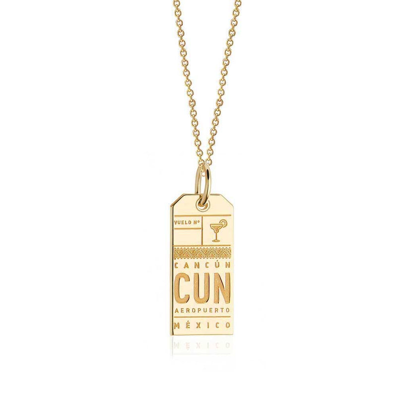 Gold Mexico Charm, CUN Cancun Luggage Tag - JET SET CANDY