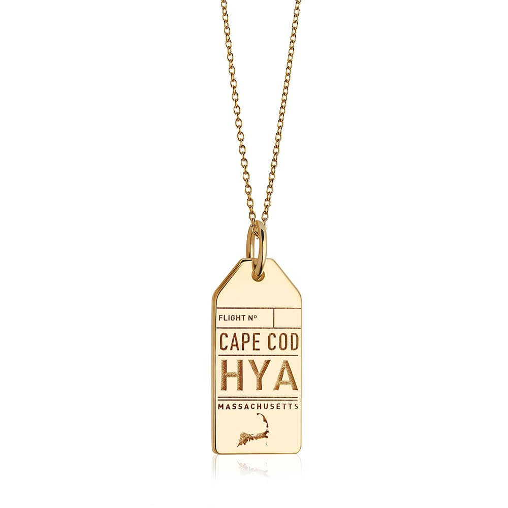 Gold Cape Cod Charm, HYA Luggage Tag - JET SET CANDY