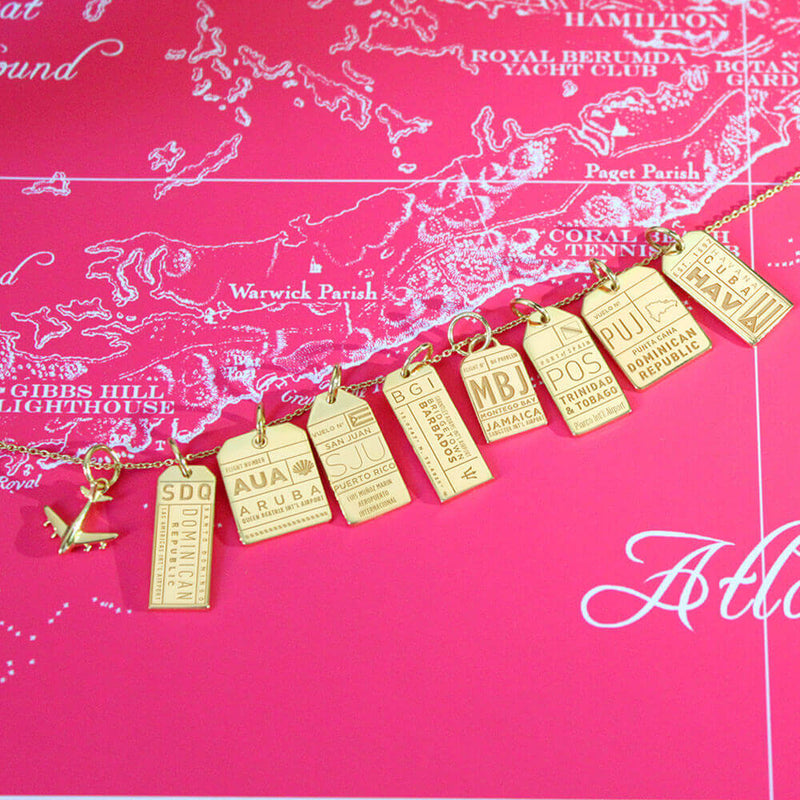 Gold Caribbean Charm, BGI Barbados Luggage Tag - JET SET CANDY