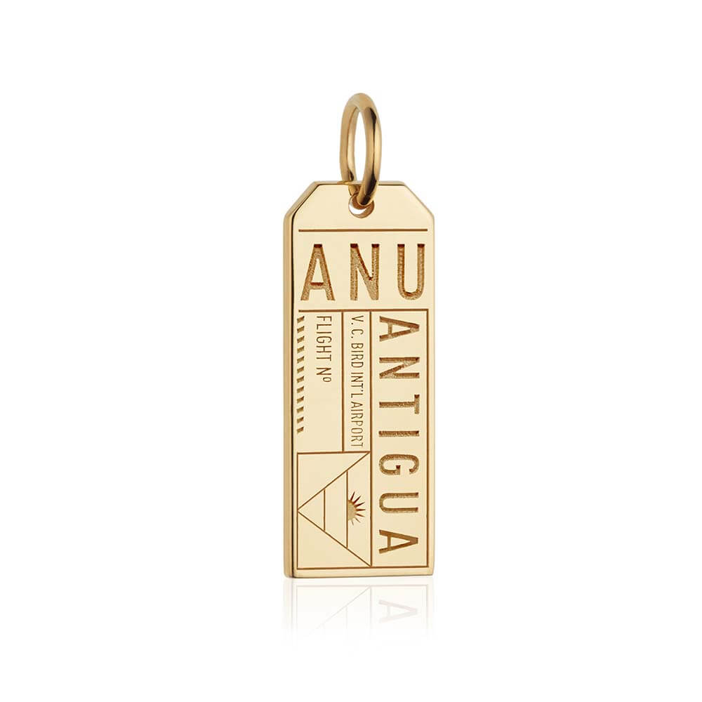 Gold Caribbean Charm, ANU Antigua Luggage Tag - JET SET CANDY