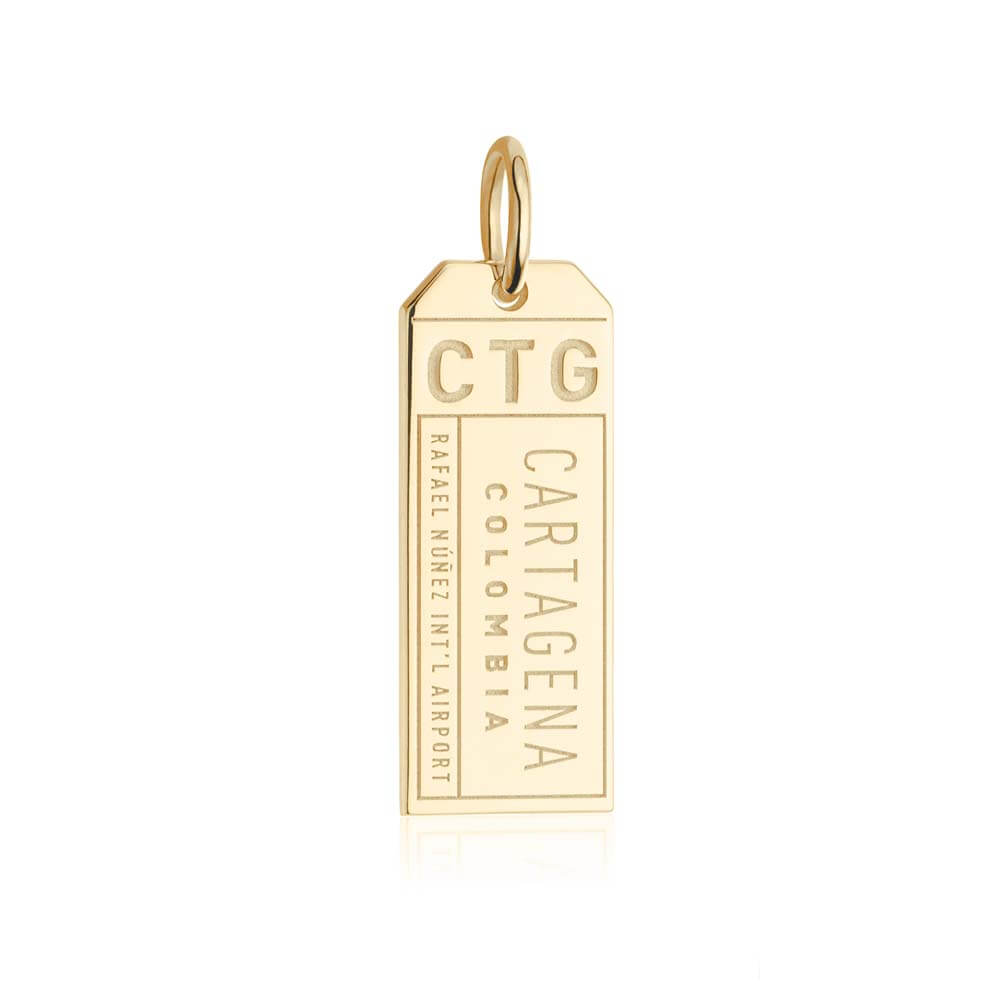 Gold Travel Charm, CTG Cartagena Luggage Tag - JET SET CANDY